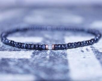 Aquamarine Beads Gifts for Him Birthday - Men's Bead Bracelets, Mens gift for him Husband Gift , Mens Seed Bead