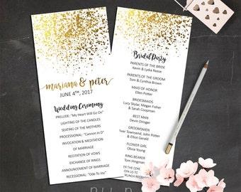 Gold Wedding Program Digital Download Elegant Decor Glitter Programs Printable Order