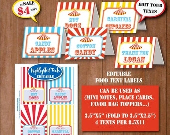 Carnival Birthday Food Tent Labels-SELF-EDITING CIRCUS Party Food Tents-Mini Thank You Note-Carnival 1st Birthday-Any Age-iLoveDIYprintables