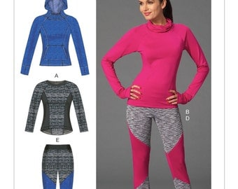 Sewing Pattern for Misses' Activewear Tops and Leggings, McCall's Pattern 7261, Activewear Leggings, Crew Neck, Hooded Pullover