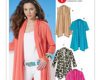 Sewing Pattern for Misses' Shawl Collar Cardigans, McCall's Pattern 6084, 1 Hour Cardigan w Cascade Drape, Easy Sew Pattern, Plus Sizes