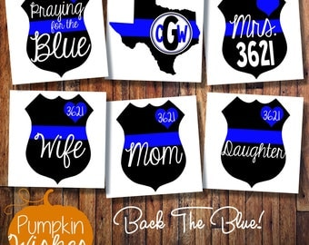 Back the Blue Decal/Blue Live Matter Decal/Mrs Decal/Police Decal/Police Badge Decal/Support LEO/Police Officer Decal