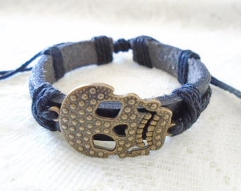 Skull leather boy bracelet, Leather children bracelet