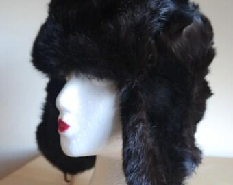 vintage Russian Soviet USHANKA Trapper rabbit fur hat S M