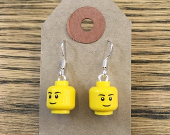 LEGO® Head Earrings, Smiley Face, with Sterling Silver Hooks