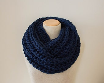 Navy infinity scarf, chunky knit scarf, navy blue circle scarf, knit infinity scarf, circle scarf, vegan clothing, crochet infinity scarf,