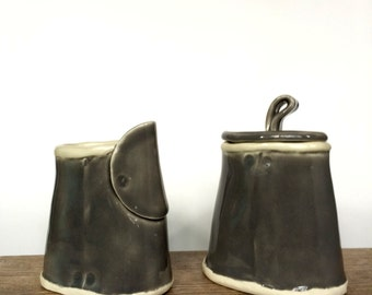 grey ceramic cream and sugar set - handmade pottery -