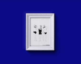 """Small screen printing of art illustration """"3 graces"""" by Larobotte - 11 x 15, 8 cm - piece limited edition 20 best"""