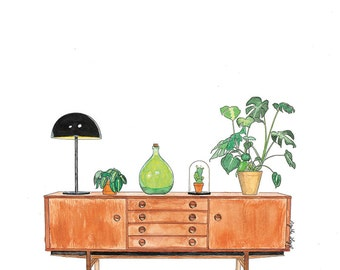 reproduction watercolor enfilade fifties and plants