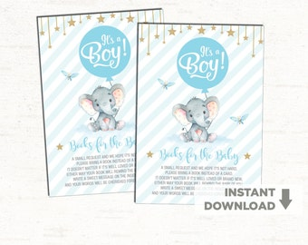 Blue Gold Elephant Baby Shower. Twinkle Little Stars Books for Baby Card. Bring a Book Little Peanut Jungle Baby Boy Invitation Insert EL-B4