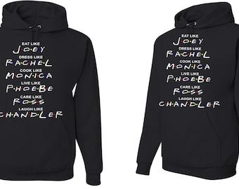 "Adults unisex Hood sweatshirt with ""Friends"" design"