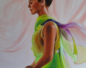 OM, Original Figurative Oil Painting, Meditation Painting, 18x24 inch