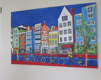 large acrylic painting, modern art, Amsterdam, Prinsengracht
