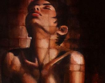 original small figurative painting - she longed to sing like Etta James... - an acrylic painting by figurative artist Anita Dewitt