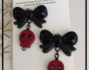 Red Skulls and Black Bows Rockabilly Dangle Earrings