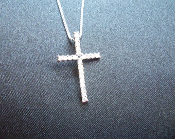925 Silver Cross and Chain - Sparkling CZ's