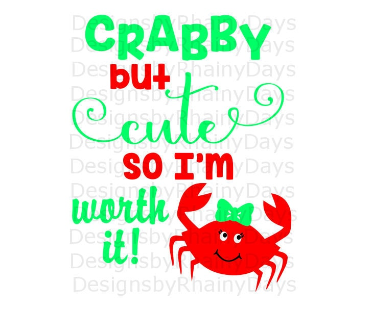 Buy 3 get 1 free! Crabby but cute so I'm worth it! cutting file, SVG, DXF, png, Crab girl design, summer, cute crab with hair bow design