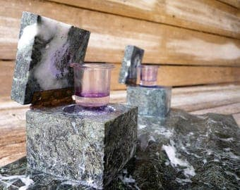 Old  Green marble inkwell - Double inkwell with glass inkwell -