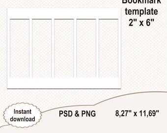"2""x6"" Bookmark template. Blank template. Digital template. Collage template. Printable template. Commercial use"