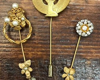 Rare Miriam Haskell set of 3 stick pins with Egyptian Goddess baroque pearls and rhinestones