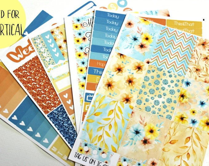 Planner Stickers - Fits Erin Condren Vertical - Summer Floral Planner Stickers - Ala Carte Weekly Sticker Kit - Floral Planner Stickers