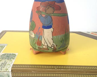 Vintage Terra Cotta Three Legged Pot / Made in Mexico / Farmer and Cactus Handpainted / Unique OOAK Piece / A Planter or Vase?