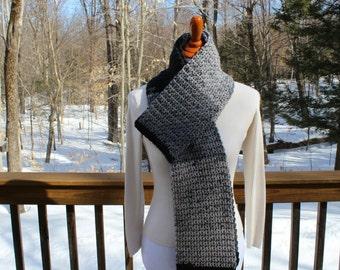 Long Crochet Scarf, Black Gray Crochet Scarf, Men's Scarf, Winter Fashion