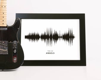 Sound Wave Print Framed Personalised with Your Song Choice Gift for Friend Music Poster Framed Bedroom