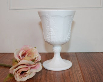 Vintage Colony Milk Glass Water Goblets, Paneled Grape Milk Glass Goblets, 1960's Milk Glass Wine Goblets, Wedding Decor, Listing For 1