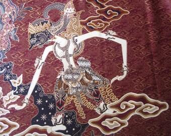 Batik fabric cloth, Java Indonesia, dark blue or maroon red, gold, shadow puppet, wayang kulit, clouds cloudy, mega mendung (> 2 yards)