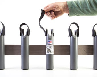 Fishing Rod Pole Rack Holders - 5 Rods, Heavy Duty Composites won't Rust!! T-Rex Tough! Artisan Craftsmanship.  Made in USA.
