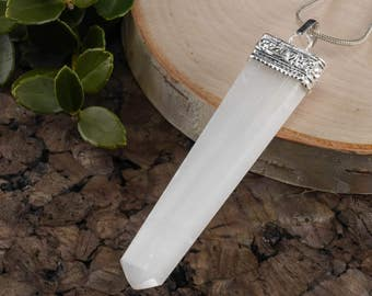 White SELENITE Pendant with Crystal Point - Pendant, Selenite Crystal Pendant from Selenite Slab, Healing Crystal, Healing Stone E0281