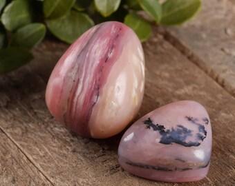 2 Small Peruvian Pink OPAL Tumbled Stones - Peruvian Opal, Healing Crystal, Opal Necklace, Pink Opal Jewelry Making E0296