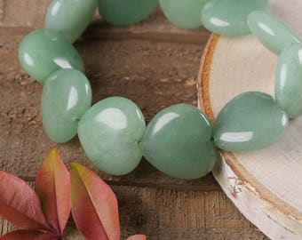 Green AVENTURINE Bracelet - Stretch Bracelet, Tumbled Stones, Aventurine Jewelry, Aventurine Beads, Healing Crystal, Healing Stone E0366