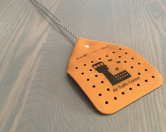 Genuine Leather Fly Swatter with a Durable stainless steel wire handle // Air Traffic Control Engraved Art // ATC // Gift for a Pilot