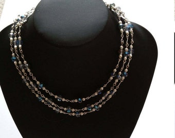 Silvery blue Statement bib necklace