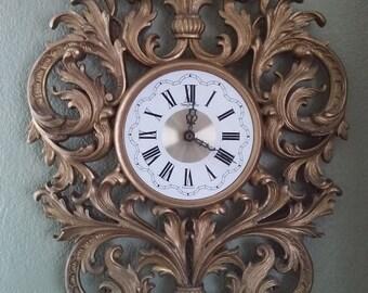 Vintage gold Burwood working clock mid century Hollywood Regency