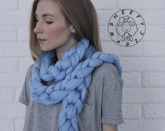 Extra Super Сhunky Scarf, Cowl, Infinity Scarf, Big Yarn Scarf, Chain Scarf, Womens Winter Scarf, Knitted Scarf, Womens Snood