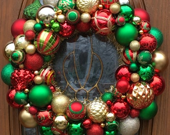 Christmas Ornament Wreath in Red, Gold and Green- Front Door Ornament Wreath - Christmas Wreath -Holiday Ornament Wreath - Mantle Decoration