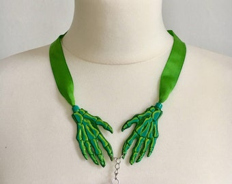 Green Zombie Hands & Brain Ribbon Necklace