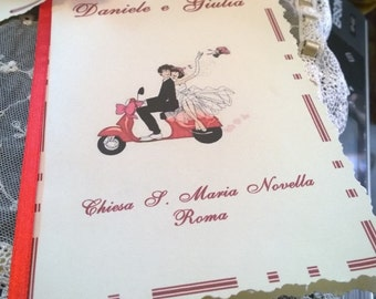 Booklet Mass Wedding Theme Newlyweds Vespa