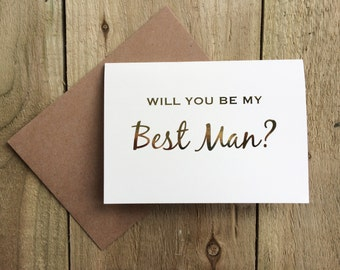 Will you be my best man card? wedding card, gold foil card, groomsman card/ pageboy card/ best man card