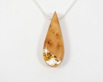 Necklace-pendant wood-Apple - Inclusion leaves of gold-calendar Celtic-unique piece