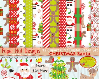 Christmas Digital Papers-Christmas Clipart-Santa Claus Christmas Clip Art-Father Christmas-Holiday-Reindeer-Robin-Red&Green-BUY2GET1MOREFREE