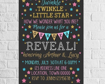 Twinkle Twinkle Gender Reveal Invitation | Baby Shower Invite | Boy or Girl | Star Theme | Pink Blue Gold | DIGITAL FILE - PRINTABLE