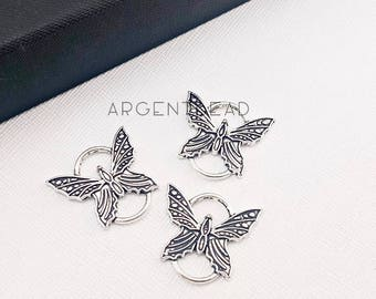10pcs 27x25mm Butterfly Connector Charms Antique Silver Tone