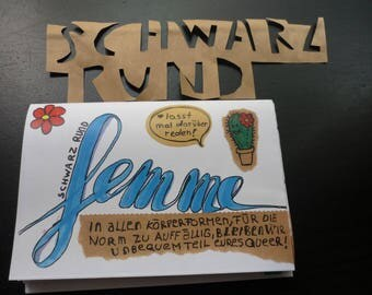 Femme Bunte zine with texts mini posters and 1 cactus!!!  Oueer Femme