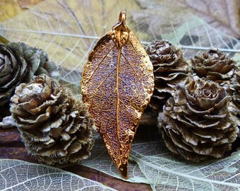 Red Copper Plated Real Evergreen Leaf Pendant, FREE WORLDWIDE SHIPPING, Necklace link chain, Highland Gems, Two Skies, Nature, (item 7282)