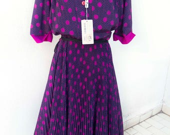 Vintage dress new with tag-Made in Italy-new with tags-Vintage Stock-dots clothing