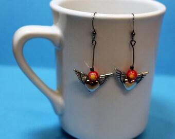 Flying heart earrings